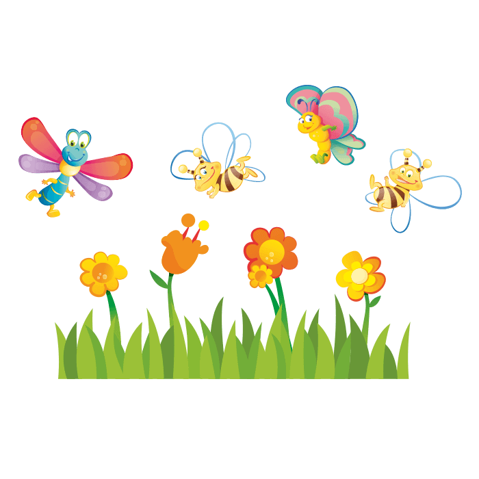 All at the Park Wall Decals for Children, Flowers Bees Sticker